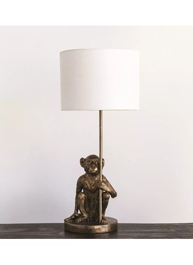 Warm Design Maymun Temalı Masa Abajuru  Altın